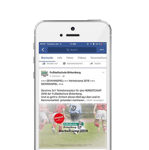 Bild Zeigt die Werbekampagne für die Fußballschule Birkenberg